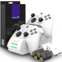 Fosmon Dual 2 MAX Charger Compatible with Xbox Series X/S (2020), Xbox One/One X/One S Elite Controllers, High Speed Docking Charging Station Kit with 2X 2200mAh Rechargeable Battery Packs - White