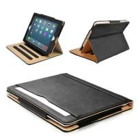 "S-Tech iPad 2 3 4 Generation 9.7"" Smart Case (Original iPad Models) Soft Leather Wallet Magnetic Cover Stand with Document Pocket for Apple (Black)"