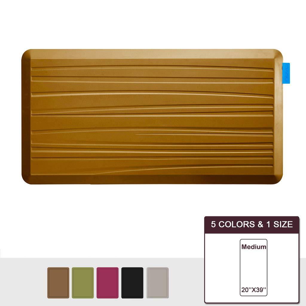 NUVA Premium Standing Floor Mat 39 x 20 in, NO PVC!!! 100% PU Comfort Ergonomic Material, 4 Non-slip PU Elastomer Strips on Bottom (Light Brown, Beach Pattern)