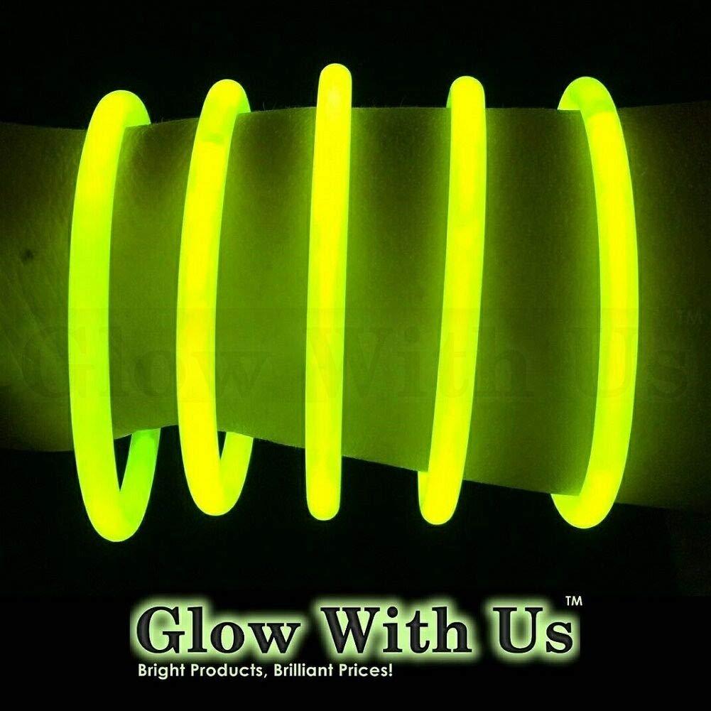 "Glow Sticks Bulk Wholesale Bracelets, 100 8"" Yellow Glow Stick Glow Bracelets, Bright Color, Glow 8-12 Hrs, 100 Connectors Included, Glow Party Favors Supplies, Sturdy Packaging, GlowWithUs Brand…"