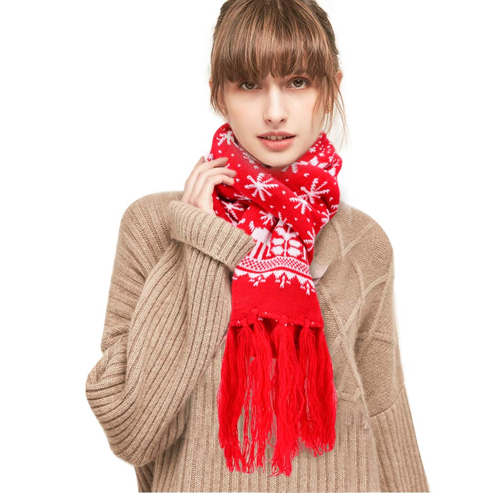 Cashmere Scarf For Women, Winter Scarf with Tassel Reindeer Snowflake Knit Scarf Warm Christmas Scarf