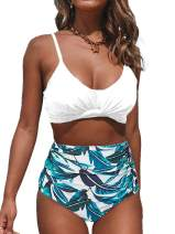 Ybenlow Womens Ruched High Waisted Bikini Set 2 Piece Spaghetti Strap Floral Print Bandage Bathing Suit
