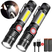 Rechargeable Flashlight, Spriak Magnetic Flashlights with Clip (Included Battery), Side Work Light, Bright, Zoomable Pocket EDC Flashlight for Camping, Hiking, Home Power Outage, 2 Pack