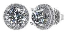 NANA 14k Gold Post & Sterling Silver-Swarovski-Zirconia Round Halo Stud Earrings 4.0, 5.25, 6.5, 7.5 & 8mm