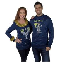 Couples Hanukkah Sweaters, LED Light Up Hanukkah Sweater Funny Couples Sweater, Menorah & Let's Get Lit Ugly Hanukkah Sweater