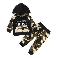 Toddler Little Baby Boy Clothes Long Sleeve Hoodie Camo T-Shirt + Pants Outfits Set