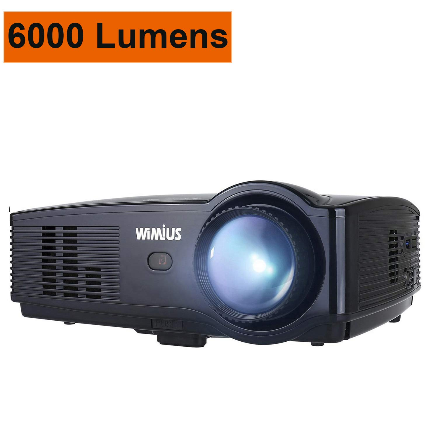 WiMiUS Projector, 6000 Lumens Full HD 1080P and 200'' Display Supported, Video Projector with 50,000 Hrs LED Life, Compatible with TV Stick, PS4, HDMI, VGA, AV, USB and Smartphones