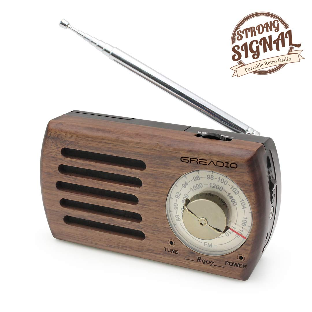 Portable AM/FM Radio, Retro Walnut Wood Pocket Radio with Best Reception, 3.5mm Headphone Jack, Battery Operated Transistor Personal Radio for Jogging, Waliking and Travelling