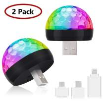 USB Mini Disco Lights, Party Lights Magic Disco Ball Light, Sound Activated Colorful Strobe LED Lights with 3 Plugs for KTV Club DJ Stage Atmosphere Christmas Party Interior Car Lights (Black 2 Pack)