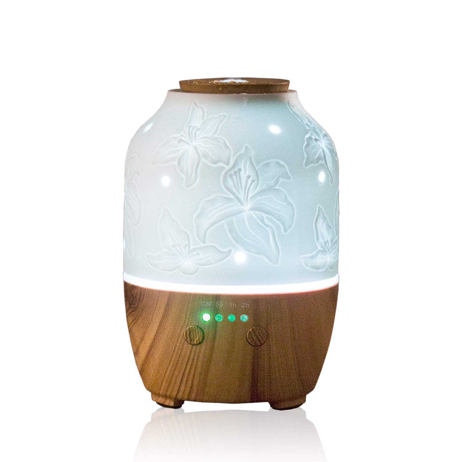 Essential Oil Diffuser, 150 ml White Ceramic Diffuser Wood Grain Diffusers for Essential Oils with Night Lights and Timers Aromatherapy Diffuser (Lily)