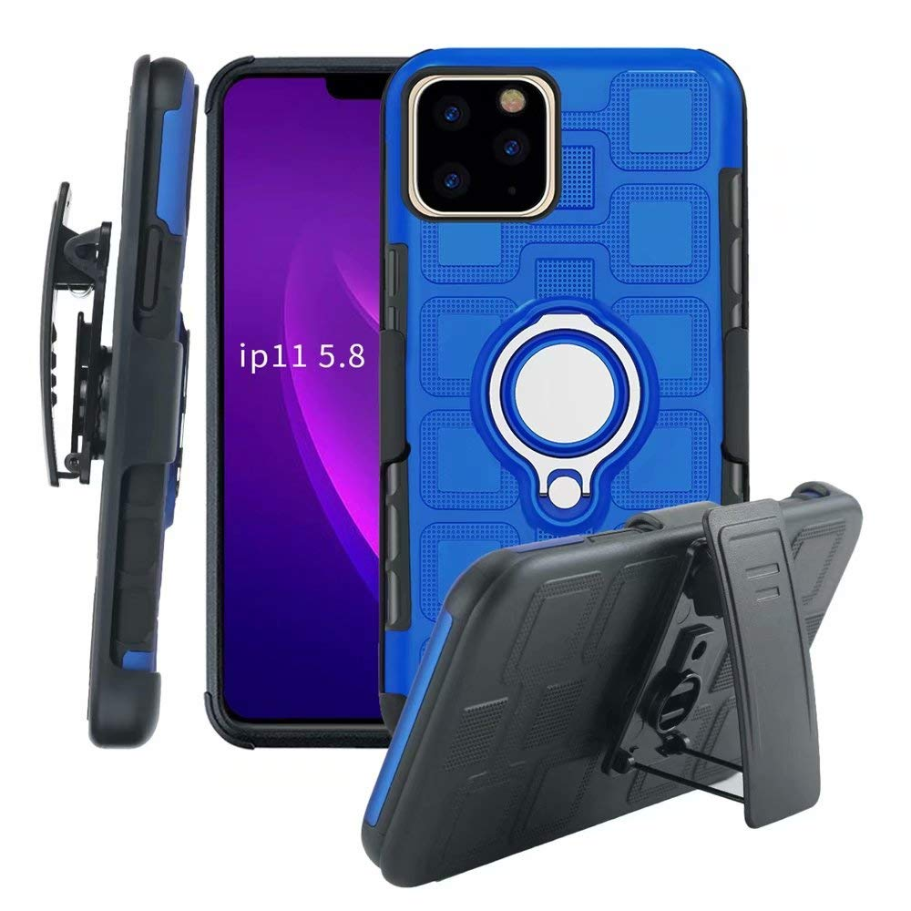 Lantier High Impact 3 Layer Hybrid Full Shockproof Armor Rugged Holster Protection Case with Kickstand Magnet 360 Degree Rotating Ring Belt Swivel Clip for iPhone 11 Pro 5.8 Inch (2019) Sky Blue
