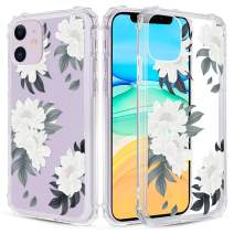 Caka Clear Case for iPhone 11 Floral Clear Case Flower Pattern Design Girly Women Girls Cute Slim Soft TPU Transparent Shockproof Protective Case for iPhone 11 (Green White)