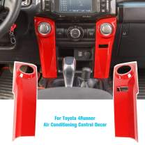 JeCar 4Runner Air Conditioning Switch Panel Cover 4Runner Accessory Decoration Trim Frame ABS for Toyota 4Runner 2010 2011 2012 2013 2014 2015 2016 2017 2018 2019 Red 2Pcs