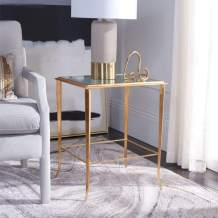Safavieh Home Collection Tory Gold Foil Glass Top Accent Table