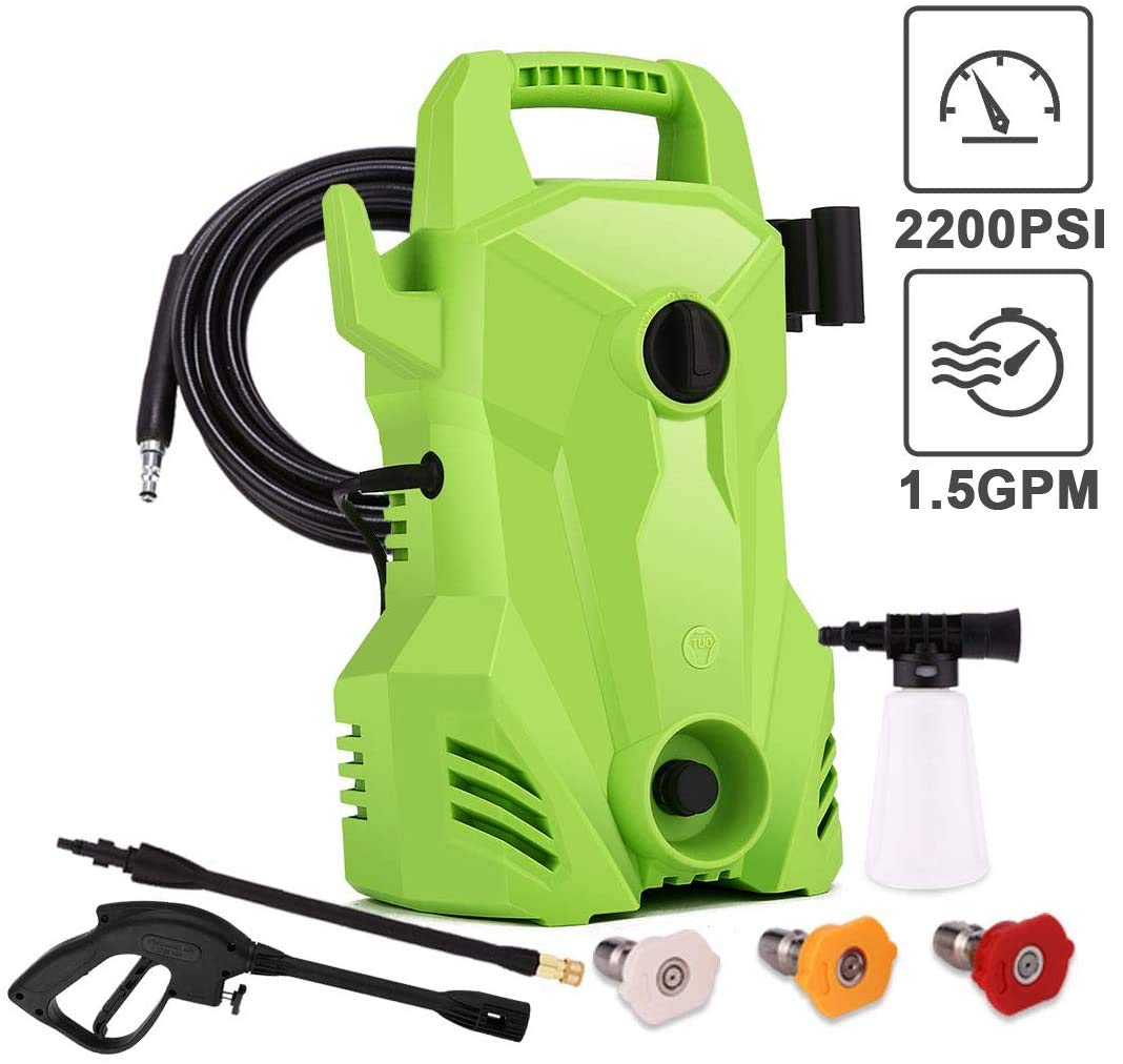 Homdox 2200 PSI Electric Pressure Washer,1400W 1.5 GPM Portable Electric Power Washer with 3 Quick-Connect Spray Tips