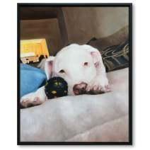 ENGLANT Framed Custom Hand Painted Portrait Painting with Your Photos, Personalized Canvas Animal Wall Art, Customize Photo to Painting for Dog, Pig, Cat Pet (Black Frame 8x10inch(1pet))