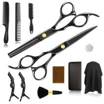 Hair Cutting Scissors, 12pcs/Set Haircut Shears Kit Black Hairdressing Kit for Men, Women,Barber, Salon, Home,Gift for Friends, Family