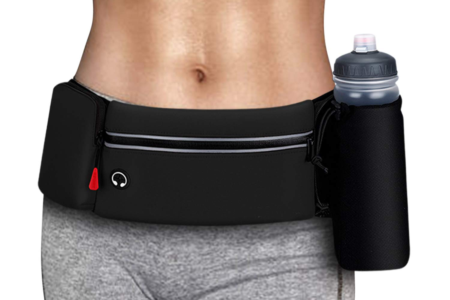 simptech Running Belt Bag with Foldable Water Bottle Holder(Bottles NOT Included), No Bounce Large Pocket Water Resistant Fanny Waist Pack, Hydration Running Phone Holder for Men and Women