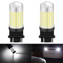 KATUR 3157 3155 3157A 3457A LED Bulb High Power 3014 Chips Extremely Bright 3000 Lumens 6500K Xenon White Replace for Back up Reverse Brake Tail Turn Signal Lights,(Pack of 2)