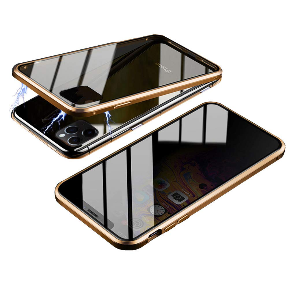 Magnetic Case for iPhone 11, HONTECH Slim Privacy Magnetic Adsorption Front and Back Tempered Glass with Built-in Screen Protector Metal Bumper Flip Cover 6.1 inch, Gold