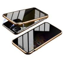 HONTECH Magnetic Case for iPhone 11 Pro Max, Slim Privacy Magnetic Adsorption FrontandBackTemperedGlasswithBuilt-inScreenProtectorMetalBumperFlipCover 6.5 inch, Gold