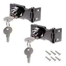 uxcell 2.5 Inch Keyed Hasp Locks Zinc Alloy Twist Knob Keyed Locking Hasp with Screws for Door Cabinet Keyed Alike, Black 2Pcs