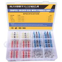 200PCS Solder Seal Wire Connectors-Haisstronica Heat Shrink Wire Connectors-Heat Shrink Butt Connectors-Self Solder for Marine,Stereo(20Yellow 50White 65Red 65Blue) Solder Sleeve