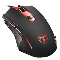 PICTEK Gaming Mouse, Affordable Entry-level Ergonomic Optical Computer Mouse for Gaming& Daily Use, 1000-3200 DPI Adjustable USB Mouse Auto Breathing Wired Gaming Mouse for PC, Black