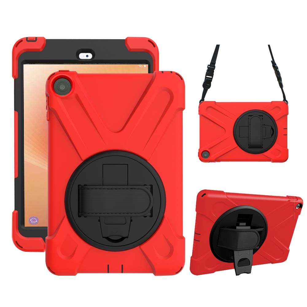 Gzerma Tablet Case for Fire HD 8 8th Generation, Childproof Shockproof Rugged Cover Case with Holder, Hand Band, Shoulder Strap for Amazon Fire HD8 Kids Edition Tablet 8 inch HD Display 2018, Red