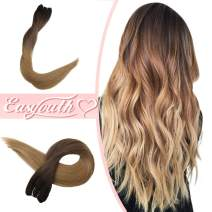 "Easyouth Hand Tied Extensions Ombre Color Darkest Brown Fading to Medium Brown Highlights with Honey Blonde -22"" 100g Remy Hair Extensions, Sew in Hair Real Human Hair Extensions for Stylist"