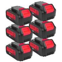 6-Pack 6.0Ah 20V DCB200 for Dawalt, Lithium-ion Battery for Dewalt DCB203 DCB204 DCB205 DCB205-2 DCB180 DCD985B DCD771C2 DCS355D1 DCD790B