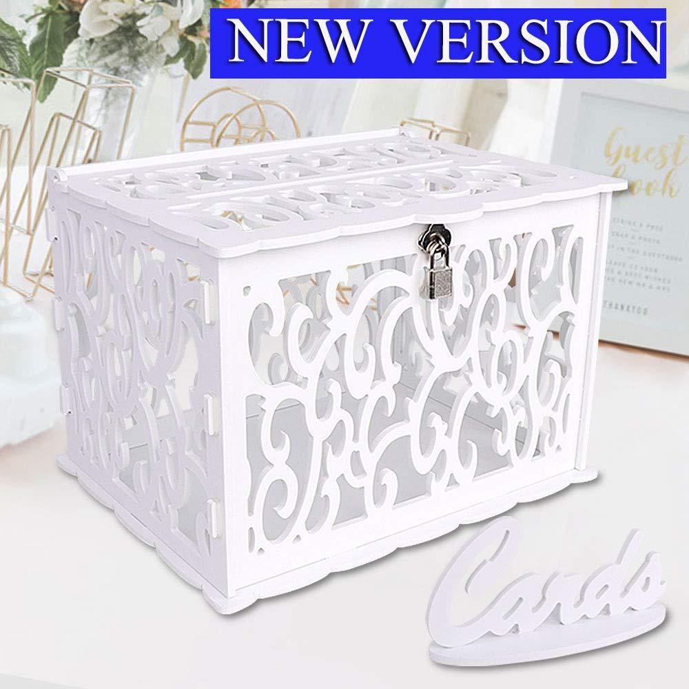 OurWarm DIY White Wedding Card Box with Lock PVC Card Box Graduation Card Box Perfect for Weddings, Baby Showers, Birthdays, Bridal or Baby Showers