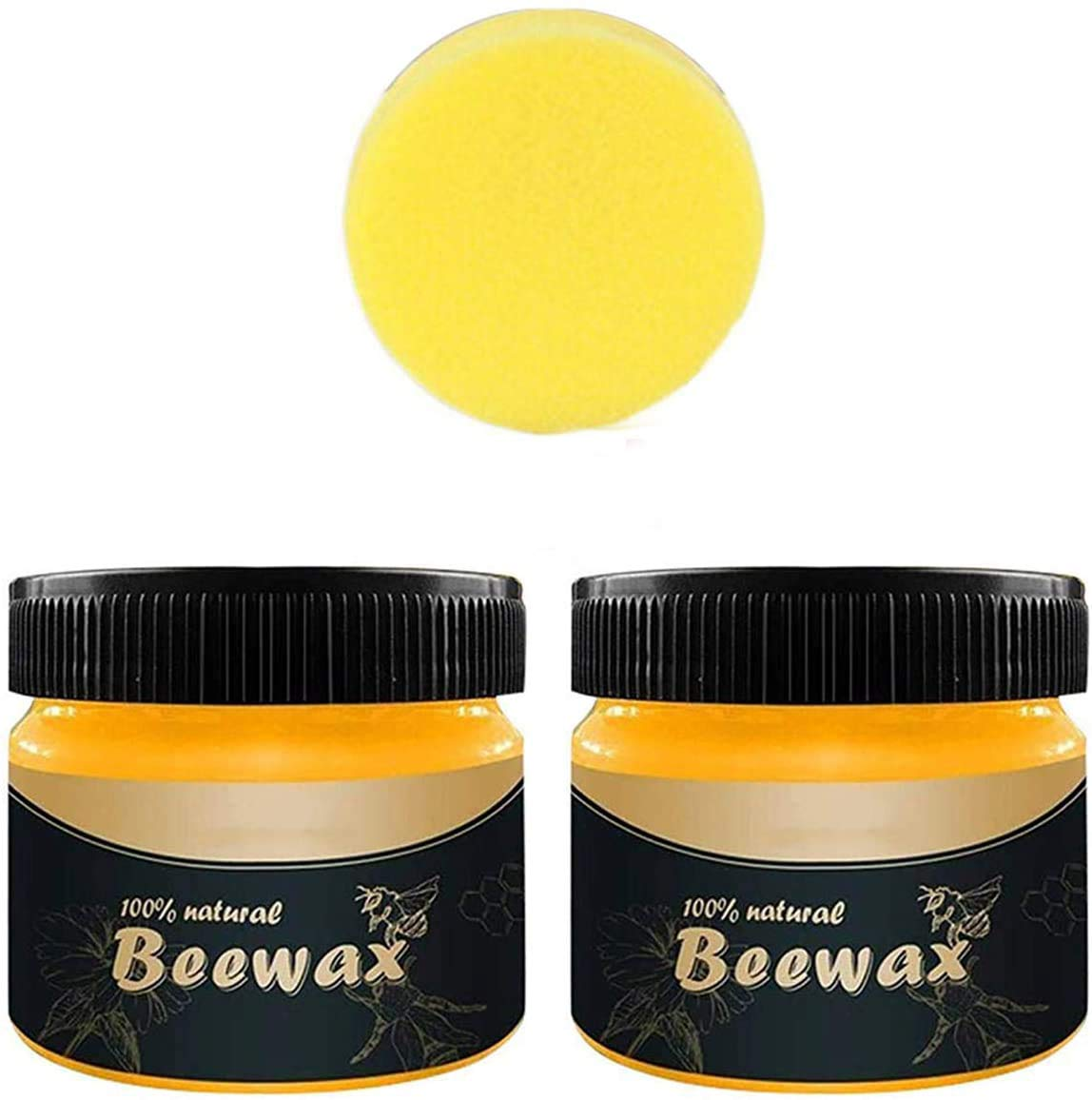 Wood Seasoning Beewax - Traditional Beeswax Polish for Wood & Furniture, All-Purpose Beewax for Wood Cleaner and Polish Wipes - Non Toxic for Furniture to Beautify & Protect (2 pcs)