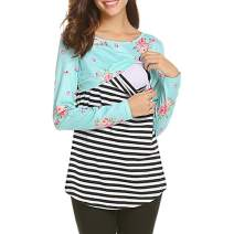 MANLUODANNI Women's Maternity Nursing Tops Casual Breastfeeding Long Sleeve T-Shirt