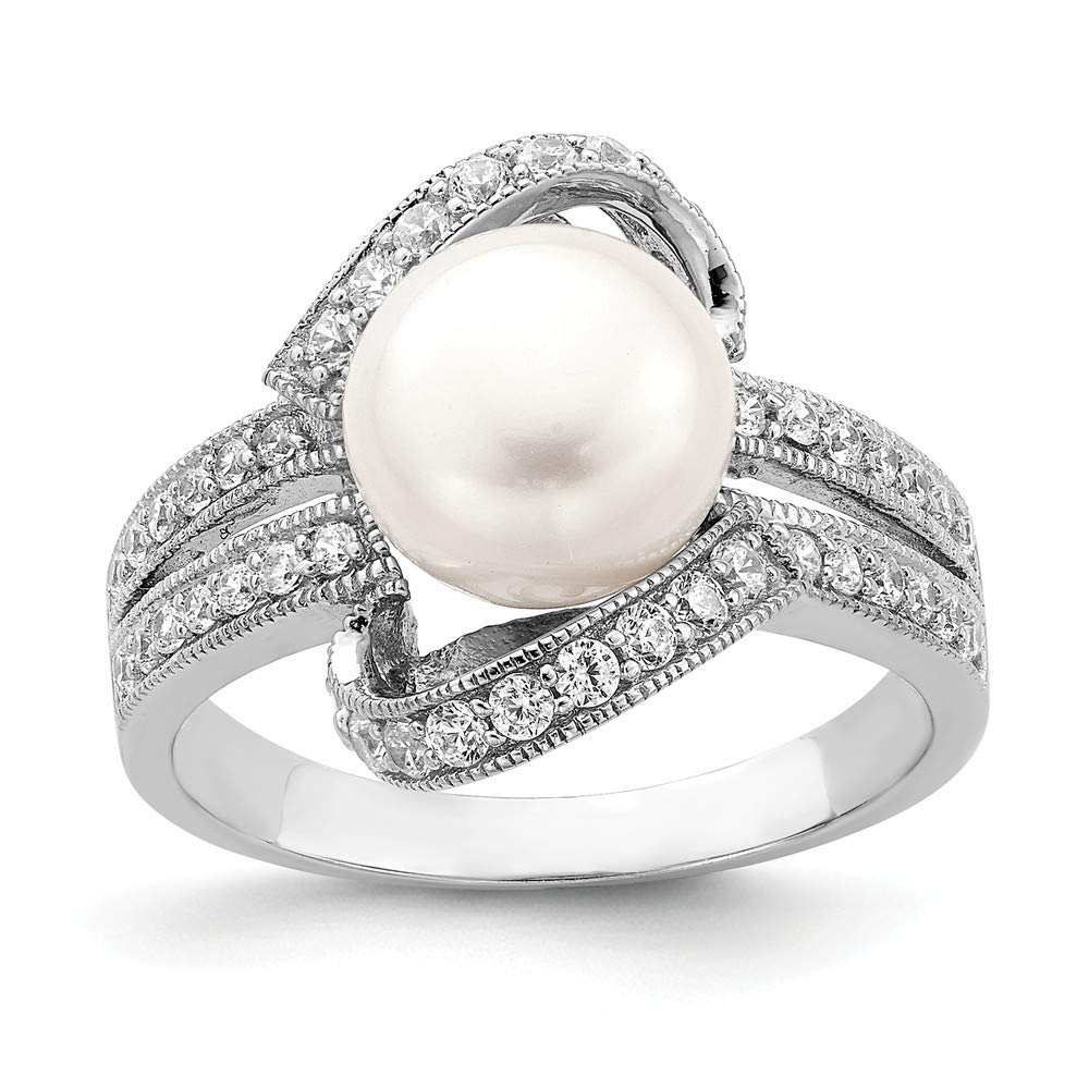 925 Sterling Silver Simulated Pearl Cubic Zirconia Cz Band Ring Fine Jewelry For Women Gift Set