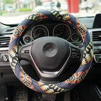 LSAUTO Universal 15inch Coarse Flax Cloth Steering Wheel Cover Ethnic Style with Memory Foam Ultra-Soft Car Wrap Sweat Absorption¡SWC06