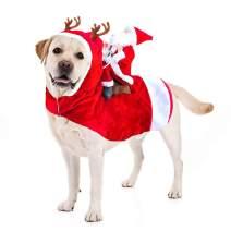 Kyerivs Dog Christmas Costume Dog Santa Claus Costume Dog Cat Christmas Holiday Outfit Pet Christmas Clothes Running Santa Claus Riding on Pet for Medium to Large Sized Dogs