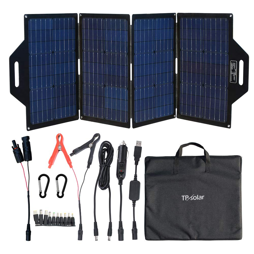Tp Solar 120 Watt Foldable Solar Panel Battery Charger Kit For Portable Generator Power Station Cell Phones Laptop 12v Car Boat Rv Trailer Battery Charge Dual 5v Usb 19v Dc Output