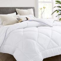 Vonabem All Season 2100 Series Full Comforter - Cooling Goose Down Alternative Quilted Duvet Insert with Corner Tabs - Plush Microfiber Fill - Machine Washable - Hypoallergenic - White