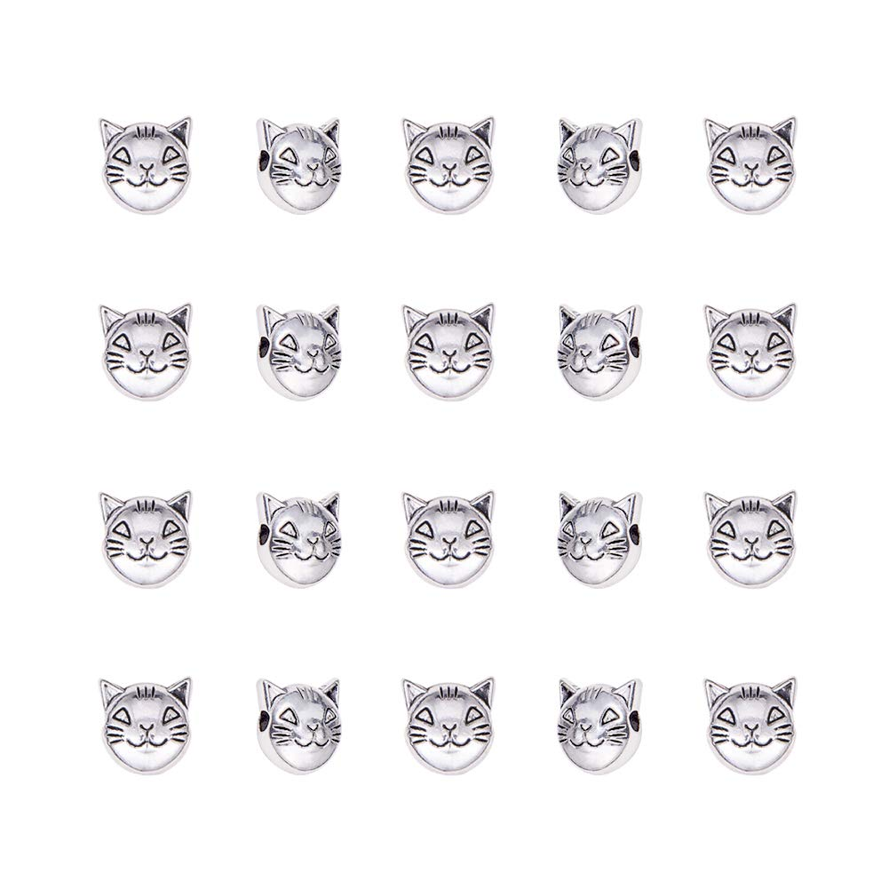 PH PandaHall 100pcs Cat Spacers Beads Tibetan Alloy Animal Kitty Charms Beads Antique Silver for Bracelet Jewelry Making, 8x8mm, Hole: 2mm