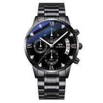 Men's Watches Luxury Sports Casual Dress Business Watch Quartz Analog Waterproof Chronograph Date Wristwatch Stainless Steel Band Black Color 878