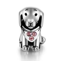 GW 925 Sterling Silver Puppy Dog Animal Charms Bead Fit Pandora Bracelets for Dog Lover (Pink-Puppy-212)