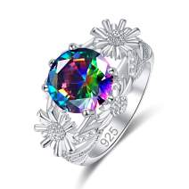 Narica Women's 925 Sterling Silver Filled Round Cut Rainbow Topaz Rings for Girls Teens Size 9