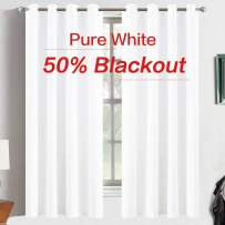 Yakamok Thermal Insulated Blackout Curtains,Room Darkening Grommet for Bedroom/Baby Room,2 Tie Backs Included (2 Panels, 52 Inch Wide by 63 Inch Long, Pure White)