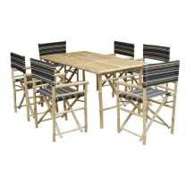 Zew SET-015-0-10 Bamboo Rectangular Table with 6 Director Chairs