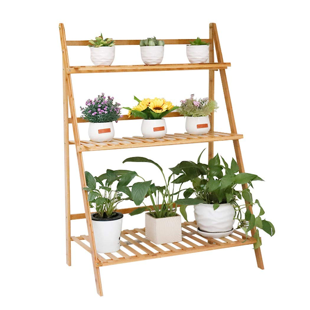 Bamboo Foldable Plant Stand 3 Tier Ladder Displaying Shelf Rack Indoor Flower Pot Succulents Small Planters Organizer Home Garden (70cm Length)