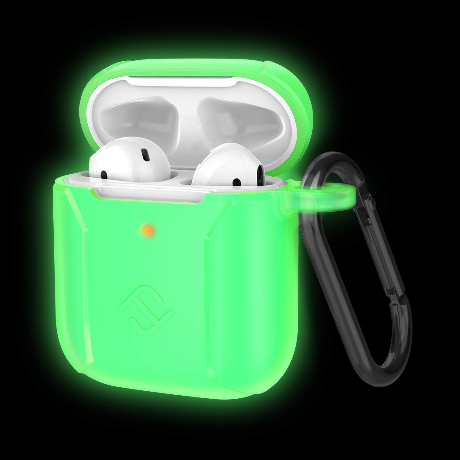 Fintie Case for Newest AirPods 2019, Premium Silicone Shockproof Protective Cover Skin [Front LED Visible] Compatible with AirPods 1 and 2 Charging Case, Green-Glow in The Dark