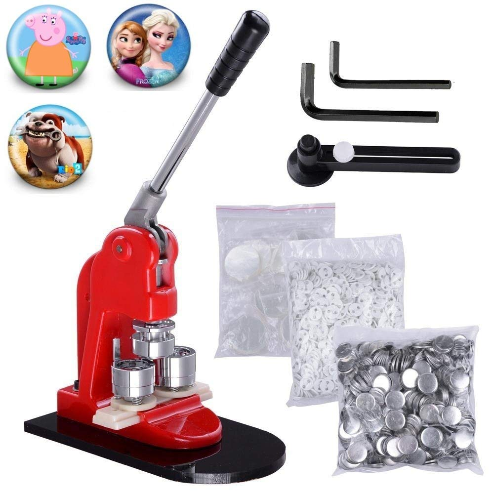 Mophorn Button Maker Badge Maker Machine Badge Punch Press Pin Button Maker with Free Button Parts and Circle Cutter (500pcs, 75mm)