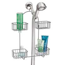 mDesign Metal Hanging Bath and Shower Caddy Organizer for Hand Held Shower Head and Hose - Storage for Shampoo, Conditioner, Hand Soap - 4 Shelf Format - Graphite Gray