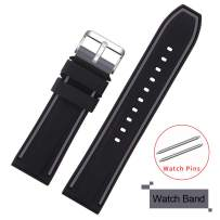 COHOLL Silicone Watch Bands - Quick Release Straps - Choose Color & Width - 20mm, 22mm, 24mm, or 26mm - Soft Silicone Rubber Replacement Watch Band (Grey with Black, 24mm)